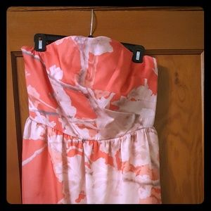 Strapless coral/pink dress